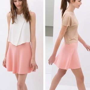 ZARA woman thick pink skater skirt size small